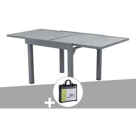 Table extensible carrée alu Piazza 4/8 places Gris Basalte avec housse de protection - Hespéride