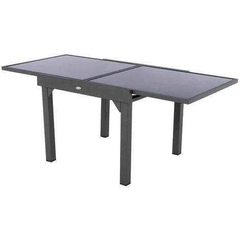 table extensible carr e en verre piazza 4 8 places gris. Black Bedroom Furniture Sets. Home Design Ideas
