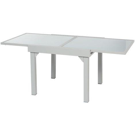 Table extensible carrée en verre Piazza 4/8 places Gris mat - 132184
