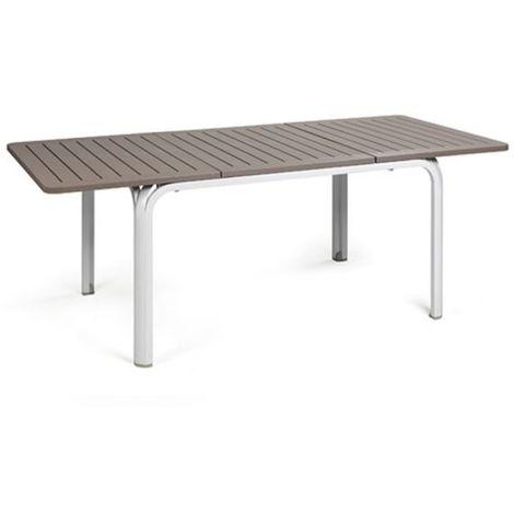 Table extensible de jardin design Alloro 100x140/210 par NARDI - Blanc &  Tortora - Extérieur - Recyclable