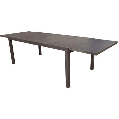 Table extensible de jardin en aluminium coloris marron - Dim : 200/300 x  100 cm - PEGANE -