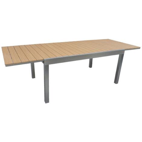 Table extensible de jardin en aluminium et résine - Dim : L.165/265 x P.100  x H.75 cm - PEGANE -