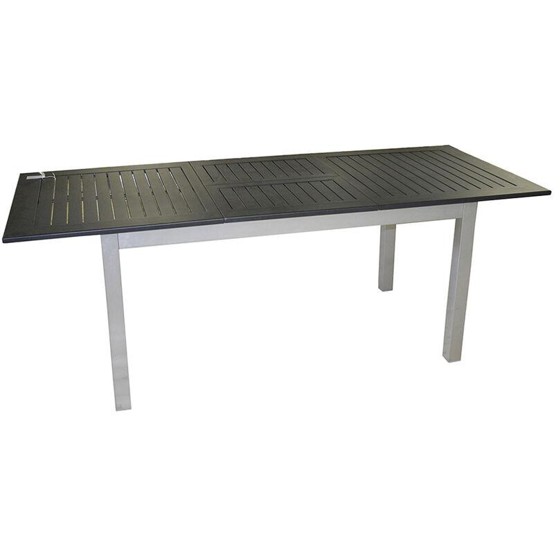 Pegane - Table extensible en aluminium argent avec plateau noir - Dim : 75 x 150/210 x 90 cm