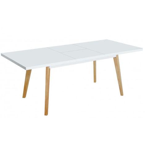 Table extensible en MDF et métal laqué blanc - Dim : 140/180 x 90 x ...