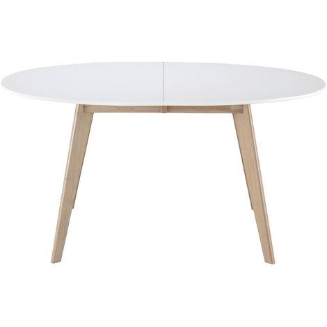 Table extensible ovale blanche et bois clair L150-200 cm LEENA