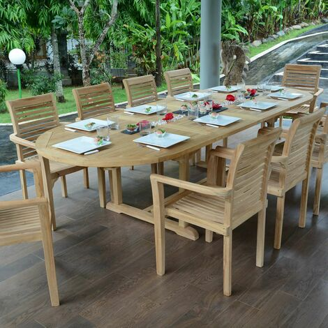Table extensible ovale teck Ecograde Florence 194/294 x 110 cm - Naturel