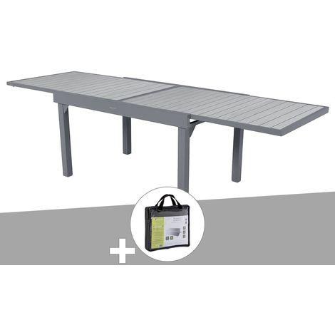 Table extensible rectangulaire alu Piazza 6/10 places Gris Basalte avec housse de protection - Hesperide