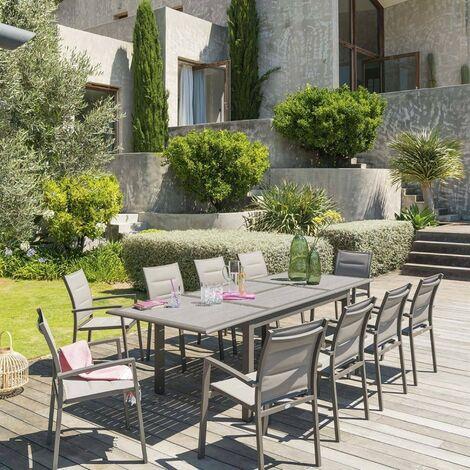 Table extensible rectangulaire Azua alu 6/10 places effet bois - Hespéride