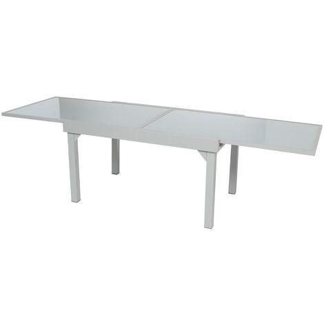 Table extensible rectangulaire en verre Piazza 6/10 places Gris mat ...
