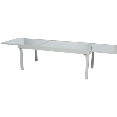 Table extensible rectangulaire en verre Piazza 8/12 places Gris mat -  Hespéride