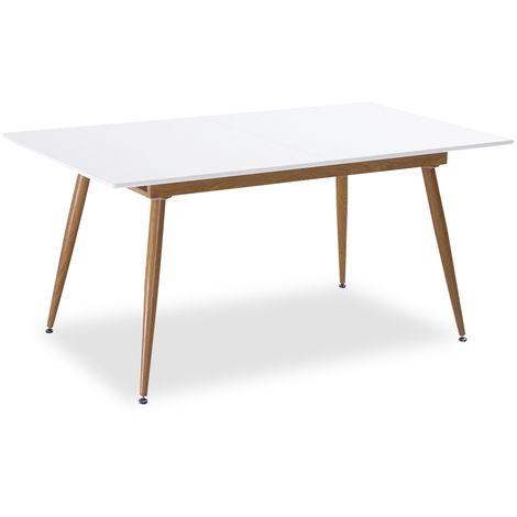 Table extensible scandinave Betty Blanc - 6 à 8 personnes