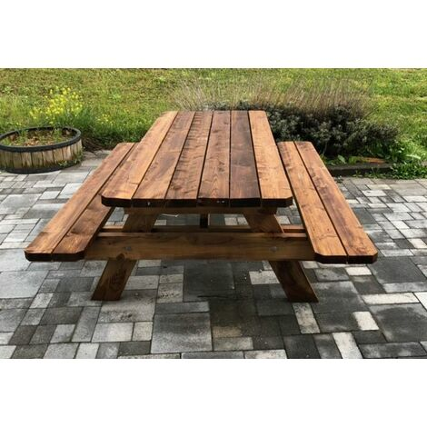 Table extérieur de picnic & jardin - 2m - 6 personnes - Bois - Origine France - Traitement classe 3 - Epaisseur bois renforcée