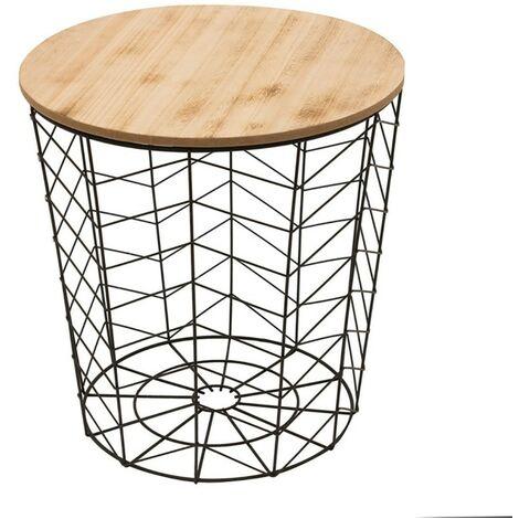 Table filaire bois et métal noir motif chevron - Noir