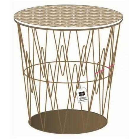 Table filaire d\'appoint motif art décoratif - L 38,5 x l 38,5 x H 40