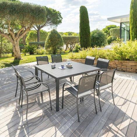 Table fixe carrée Piazza coloris noir graphite Hespéride - Sans rallonge