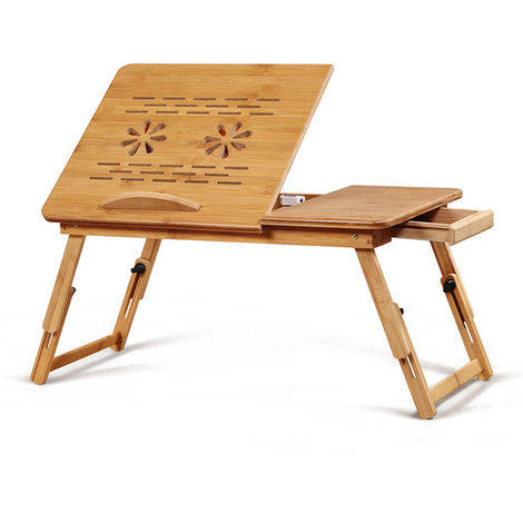 Table Folding laptop stand with drawer 55x21x25cm