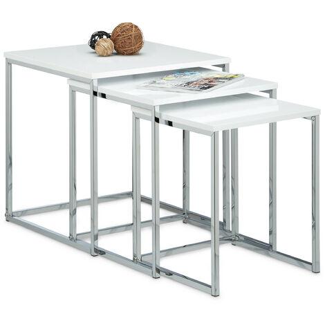 Table gigogne lot de 3 HxlxP: 42 x 40 x 40 cm table basse table appoint plateau carré en bois avec pieds en métal salon gain de place table de chevet moderne canapé, blanc