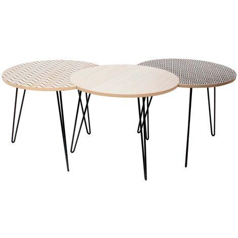 Table gigogne pieds fils (Lot de 3) Beige et noir