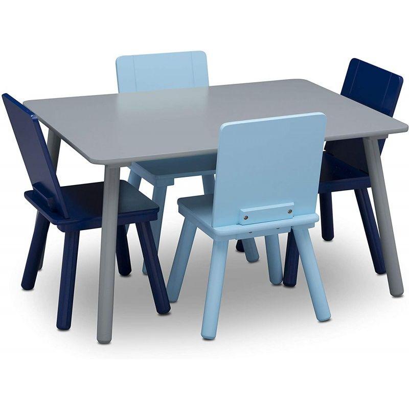Table grise et quatre chaises bleu et navy Signature Delta Children
