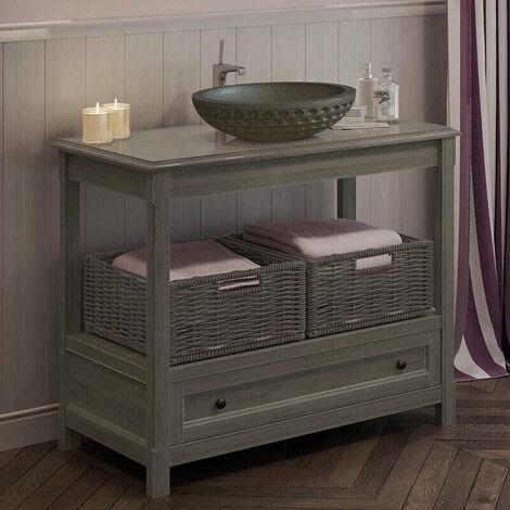 Table grise sous vasque 100 cm avec plan, 1 tiroir, 2 paniers - Boho