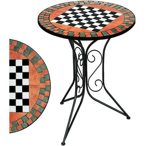 Table guéridon Mosaique avec plateau échec -Table de jardin petite ...