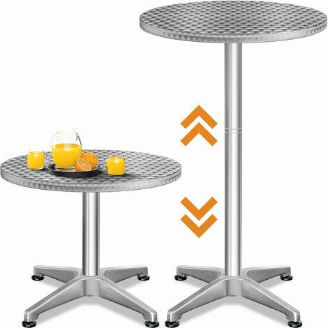 Table Haute 4 pieds Table Ronde de Bar Table de Bistrot Table de Jardin mange debout Table à cocktail Hauteur réglable 70 - 115 cm