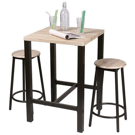 Table haute avec tabourets Chicago - Naturel fonce