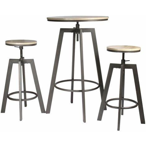 Table haute avec tabourets design industriel Aria - 2 Personnes - Noir - Noir