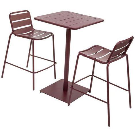 Table haute avec tabourets design Phuket - Bordeaux - Gris