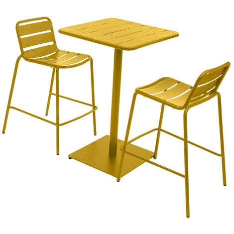 Table haute avec tabourets design Phuket - Jaune moutarde - Jaune