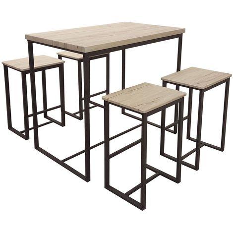 Table haute avec tabourets industrielle Dock - Noir - Noir