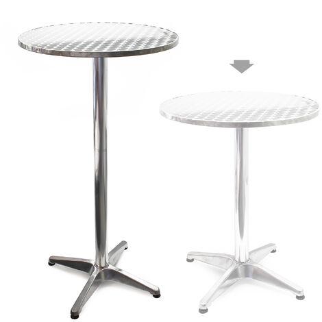 Table haute de bar Aluminium Bistro Réglage en hauteur 70-110 cm Ø 60 cm Meuble Terrasse Salon