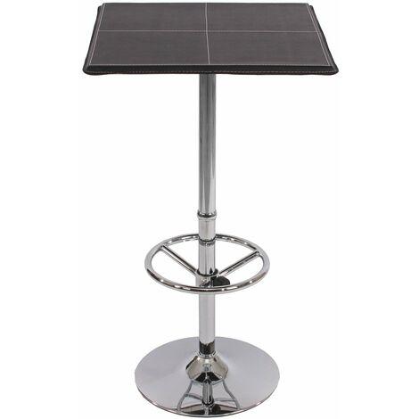 Table haute de bar bistrot avec repose-pied 110 cm noir - noir