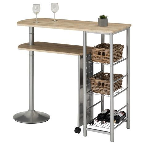 Table haute de bar JOSUA mange-debout avec comptoir et plateau mobile en MDF décor chêne sonoma 3 étagères et structure en métal