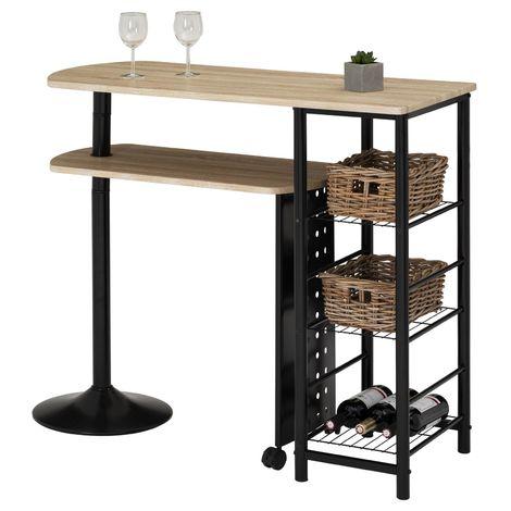 Table haute de bar JOSUA mange-debout avec comptoir et plateau mobile en MDF décor chêne sonoma 3 étagères et structure métal noir