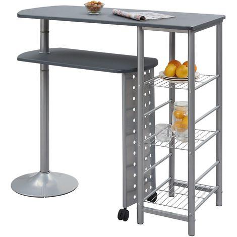 Table haute de bar JOSUA mange-debout avec comptoir et plateau mobile en MDF gris 3 étagères et structure en métal laqué couleur alu