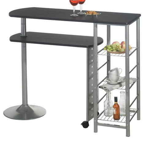 Table haute de bar JOSUA mange-debout avec comptoir et plateau mobile en MDF noir 3 étagères et structure en métal laqué couleur alu