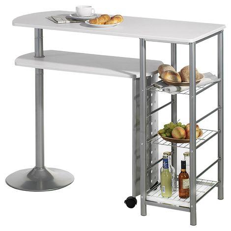Table haute de bar JOSUA mange-debout avec comptoir et plateau mobile MDF blanc 3 étagères et structure en métal laqué couleur alu