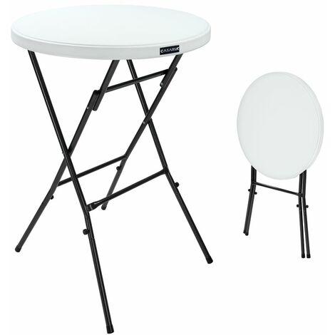 """main image of """"Table haute de bar mange-debout Ø 72 cm blanc Table haute pliante 110 cm Table de bistrot jardin extérieur"""""""