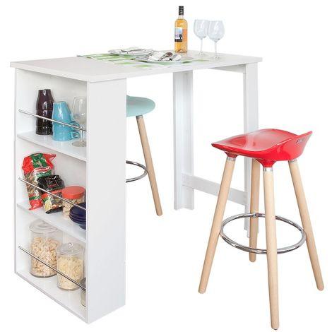 Table Haute de Bar Mange-debout Cuisine avec rangements– Blanc FWT17-W SoBuy®