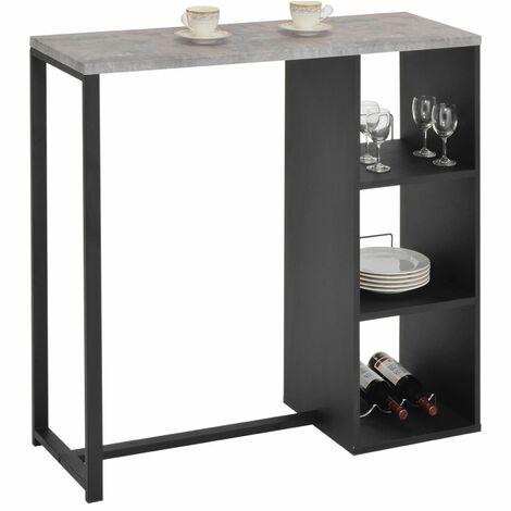 Table haute de bar PIAVA mange-debout comptoir avec 3 étagères dont 1 porte-bouteilles, en métal laqué noir et MDF décor béton