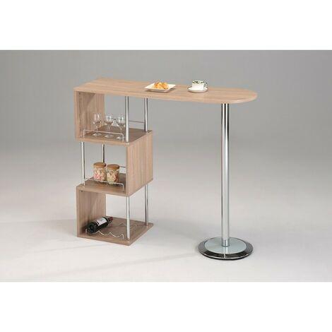 Table Haute De Bar Plan De Travail Bois Et Metal Lipsi 65380012