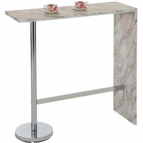 Table haute de bar RICARDO mange-debout comptoir piètement métal chromé, plateau en MDF décor marbre gris