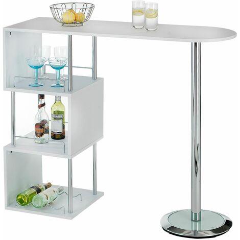 Table haute de bar VIGANDO mange-debout comptoir avec 3 étagères dont 1 porte-bouteilles, en métal chromé et plateau MDF blanc mat