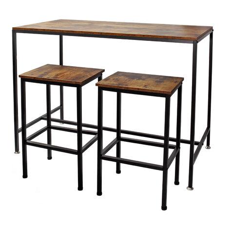 Table haute de bar Vintage contemporain 120x60x90cm 2 Tabourets Cadre en métal solide Montage simple