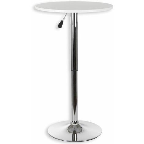 Table haute de bar VISTA table bistrot ronde mange-debout hauteur réglable avec plateau en MDF blanc et socle en métal chromé