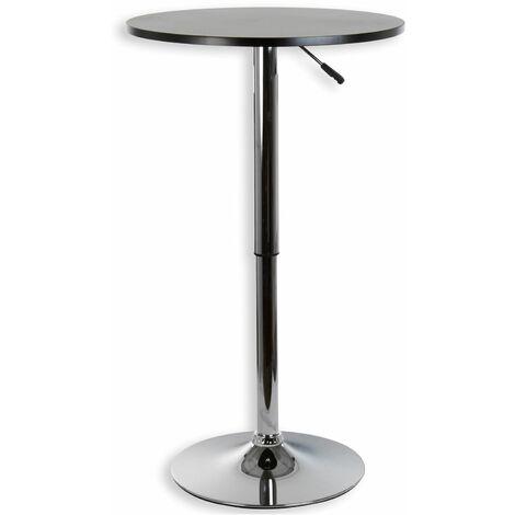 Table haute de bar VISTA table bistrot ronde mange-debout hauteur réglable avec plateau en MDF noir et socle en métal chromé