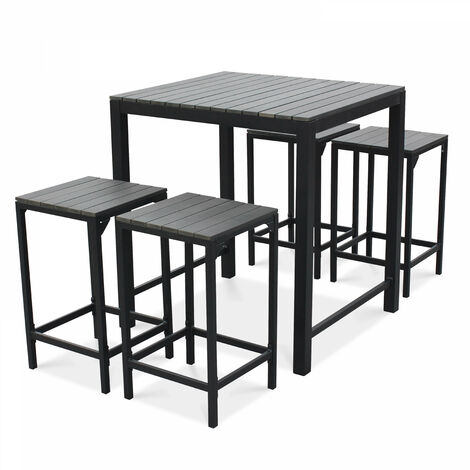 Table Haute De Jardin.Table Haute De Jardin 4 Places Aluminium Et Polywood Gris