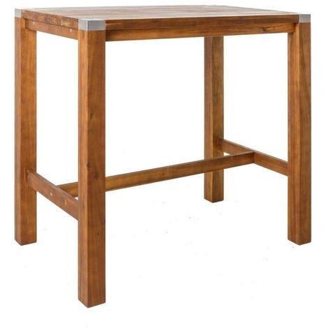 Table haute de jardin en bois et acier inoxydable NAVARRA - L 120 ...