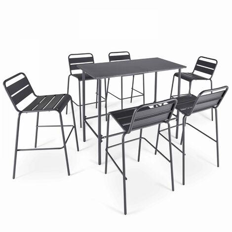 Table haute de jardin en métal gris et 6 tabourets - Gris - 104224